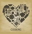 logo kitchen icon heart vector image