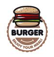 logo burger for menu restaurant or cafe vector image