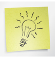idea symbol on sticky yellow paper vector image vector image