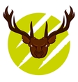 Angry deer badge vector image