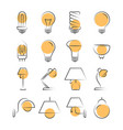 lamp line icons set isolated on white vector image
