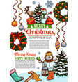 merry christmas sketch wish greeting card vector image