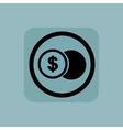 Pale blue dollar coin sign vector image