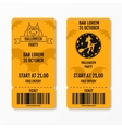 Set of halloween ticket on holiday party with vector image