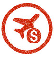 airplane price rounded grainy icon vector image