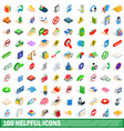 100 helpful icons set isometric 3d style vector image