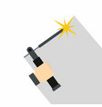mig welding torch in hand icon flat style vector image