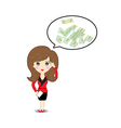 Business woman thinking to money vector image