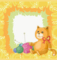 cartoon cat and accessories for knitting vector image