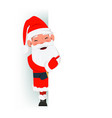 happy santa claus standing behind a sign and vector image