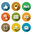 Set of Hitchhiking tourism Icons Thumb vector image