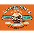 speed and power vintage motorcycle racing team vector image