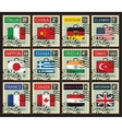 stamps with flags of different countries vector image