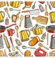 Kitchenware dishware kitchen utensils pattern vector image