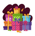 gift boxes stack in flat style vector image vector image