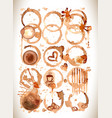 coffee stains splashes and harts coffee se vector image