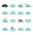 clouds cute emoji smily emoticons faces set vector image