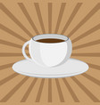 the coffee cup on a brown background lunch vector image