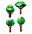 Green trees icons in 3D low poly style vector image vector image