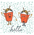 Hello card with funny characters vector image vector image