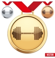 Gold Medal with the symbol of a gym inside vector image