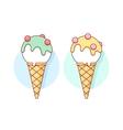 Icon white ice cream scoop in cones different vector image