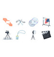 making a movie icons in set collection for design vector image
