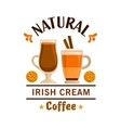 Coffee label Irish Cream element design vector image
