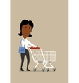 Happy businesswoman with shopping cart in store vector image vector image