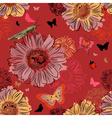 Seamless Red Floral Wallpaper with Insects vector image
