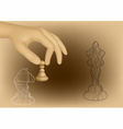 chess and hand vector image vector image