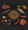 barbecue grill top view with charcoal mushroom vector image
