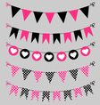 Bunting set pink and black for scrapbook vector image