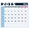 Calendar 2015 May design template vector image