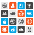 Flat Restaurant food and drink icons vector image