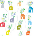 Houses and flowers seamless pattern vector image