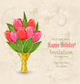 vintage invitation card with spring flowers in vector image