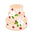 Wedding cake with cream red roses vector image