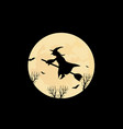 witch and the moon vector image