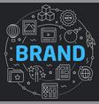 black line flat circle brand vector image