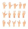 set of hands in different gestures emotions vector image vector image