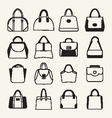 Collection of different fashion bags icon vector image