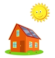 House with solar panels and the sun cartoon vector image