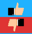 like and dislike gesture hand vector image