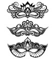 set of isolated carnival masks vector image