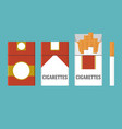 set of vintage cigarettes and open cigarette pack vector image