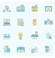 Smart home icons flat line vector image