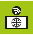 smartphone globe internet wifi icon vector image