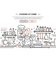 Girl cooking at home - line design website banner vector image