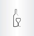 wine glass and bottle stylized vector image